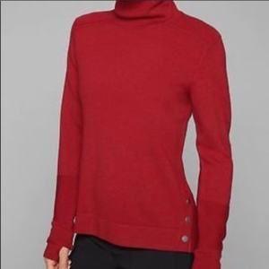 Athleta turtleneck red sweater merino wool button
